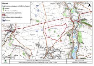 Implantation du projet éolien de Longueil et Saint Denis d'Aclon